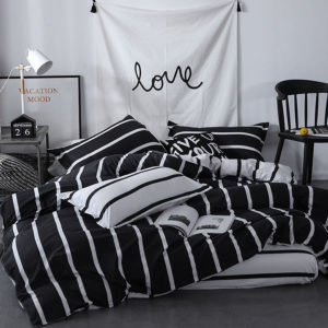 black white vertical striped comforter set