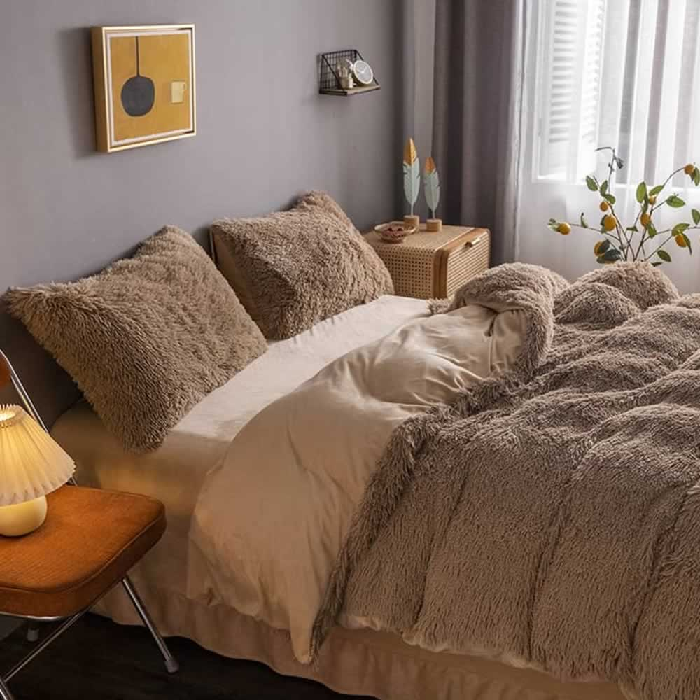 brown fluffy quilt cover